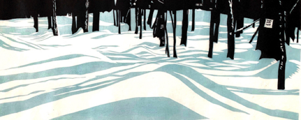 Painting of trees shadows on the snow entitled Rolling Shadows.