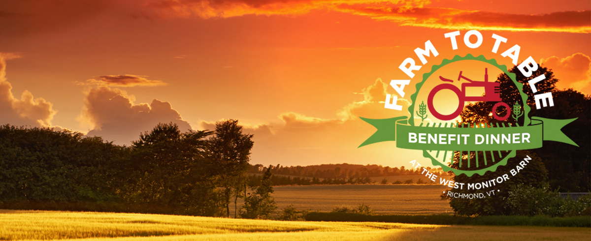 Brilliant sunset over farm fields with Farm to Table logo