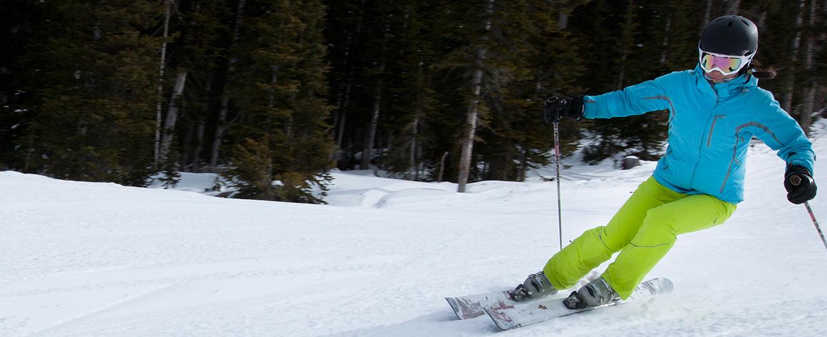 Female downhill skier