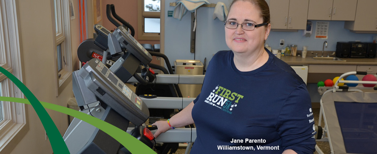 Jane Parento in working out at CVMC Rehab Fitness gym