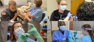 Photo collage of CVMC staff and community healthcare providers receiving vaccine