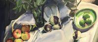 Macintosh Apples with Vase of Lime Leaves painting by Margaret Sparrow
