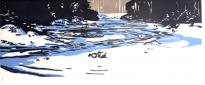 Wood Block Relief Print by Janet Cathey of Ice on the Third Branch River