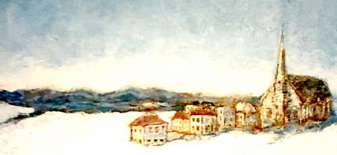 Painting by Regis Cummings of white washed village buildings in winter