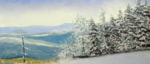 Winter landscape pastel painting