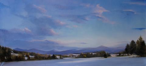 East Montpelier Twilight painting by Susan Bull Riley