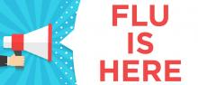 Graphic of megaphone shouting words flu is here
