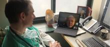 Dr. Jeremiah Eckhaus of Integrative Family Medicine - Montpelier on video call with patient