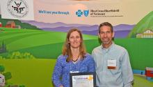Central Vermont Medical Center's Monica Urqhuart, RN, and Robert Patterson showcasing 2014 Governor's Excellence in Worksite Wellness Award