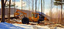 Kathleen Kolb painting of grapple skidder