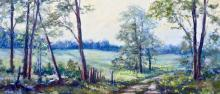 A Pastel Painting by Wendy Soliday shows a dirt road meandering through trees and pasture
